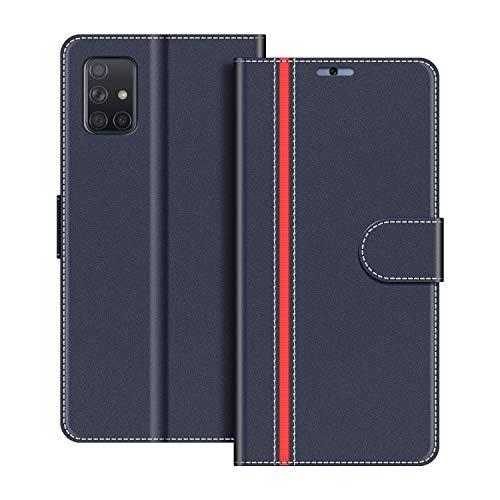 COODIO Handyhülle für Samsung Galaxy A51 Handy Hülle, Samsung Galaxy A51 Hülle Leder Handytasche für Samsung Galaxy A51 Klapphülle Tasche, Dunkel Blau/Rot