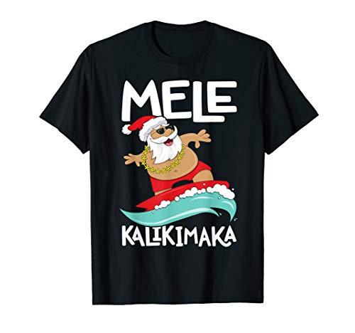 Mele Kalikimaka Hawaiian Christmas Hawaii Surfing Santa T-Shirt