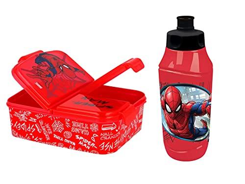 GOLDKIDS Spiderman broodtrommel voor kinderen, 18,5 x 13,5 x 5,5 cm, broodtrommel voor ontbijt, drinkfles, school, vrije…