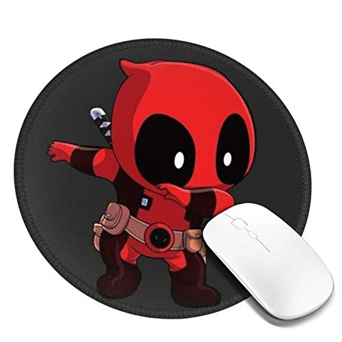 Manzox Non-Slip Round Mouse Pad, Waterproof Mouse Mat,Rubber Base Office Mousepad(Deadpool).