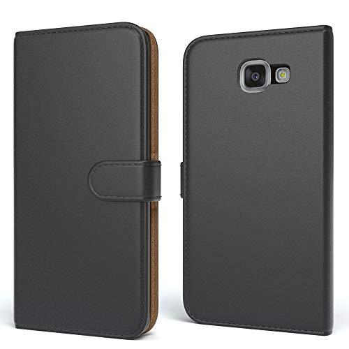 EAZY CASE Tasche kompatibel mit Samsung Galaxy A5 (2016) Schutzhülle mit Standfunktion Klapphülle Bookstyle, Handytasche Handyhülle mit Magnetverschluss & Kartenfach, Kunstleder, Schwarz
