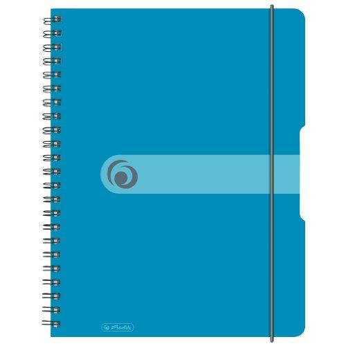 Herlitz 11293610 Spiralblock A4 to go, Holzfreies Papier, 80 Blatt, transparent blau