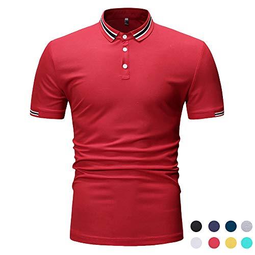 Adidase Business-Poloshirts für Herren,Revers dünnes Poloshirts Einfarbiges Kurzarm-Hemden,6,S