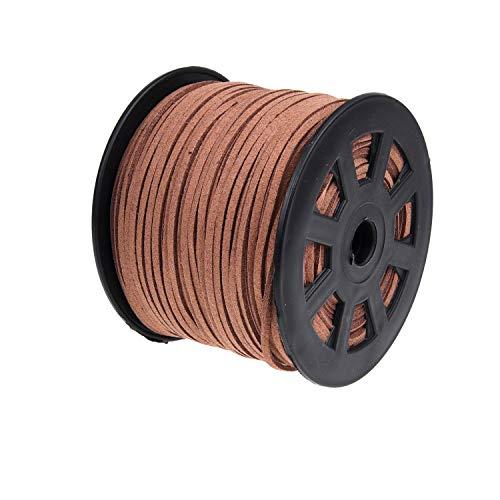 Cuerda de Gamuza de 91 Metros Kare & Kind – Cordón 2.6 mm x 1.5 mm – Cuerda de Cuero Falso – Para Envolver Regalos, Pedrería, Joyería, Collares, Brazaletes – Cordón para Artículos DIY Hechos a Man