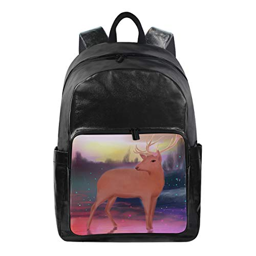 ISAOA Fashion Waterproof Backpack School Backpack Laptop Bag,15.6 Inch Beautiful Elk Computer Business Travel Rucksack Casual Daypack for Travel Business College Women Men