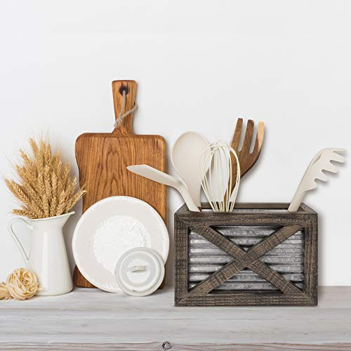 Autumn Alley Barn Door Rustic Kitchen Utensil Holder- Farmhouse Wooden Kitchen Utensil Holder- Galvanized Accents- Rustic Kitchen Decor- Farmhouse Details Add Charm to your Country Kitchen