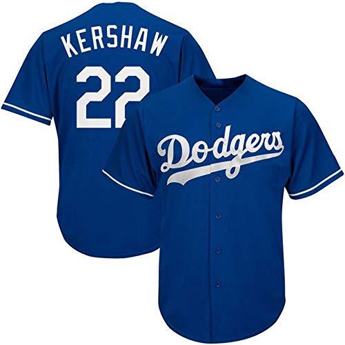 # 22 Kershaw Dodgers Herren Baseball Shirts Fans Baseball Trikots Kurzarm T-Shirts Spiel Team Uniformen Buttoned Top M-3XL-blue-M