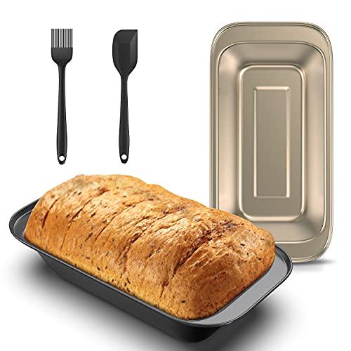 Moldes para Pan Kasimir Rectángulo Molde de Horno Molde Antiadherente para Pasteles Pan Tostado Juego de 2 Moldes, Incluyendo 2 Pincel Cocina