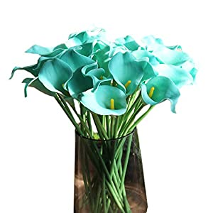 """cn-Knight Artificial Flower 24pcs 14"""" Calla Lily Faux PU Flower Real-Touch Arum Lily for Wedding Bridal Bouquet Bridesmaid Home Décor Office Baby Shower Centerpiece Reception Prop(Light Blue)"""