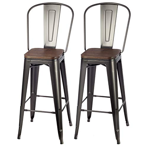 """VIPEK 30 Inches Bar Stools Patio Bar Chairs Bar 30"""" Height Dining Stools with Solid Wood Top Seat Set of 2 High Back Metal Barstool Side Dining Chairs Bistro Pub Cafe Kitchen, Matte Black"""