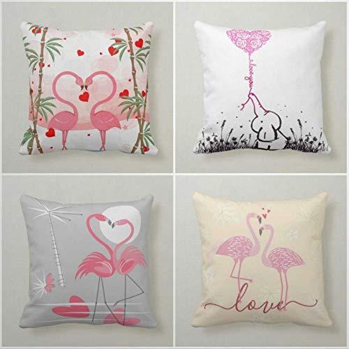 Kiss Cervical Juego de 4 fundas de almohada para el día de San Valentín con diseño de flamenco, 45 x 45 cm, decoración romántica de amor, regalos para ella, decoración del hogar para sofá