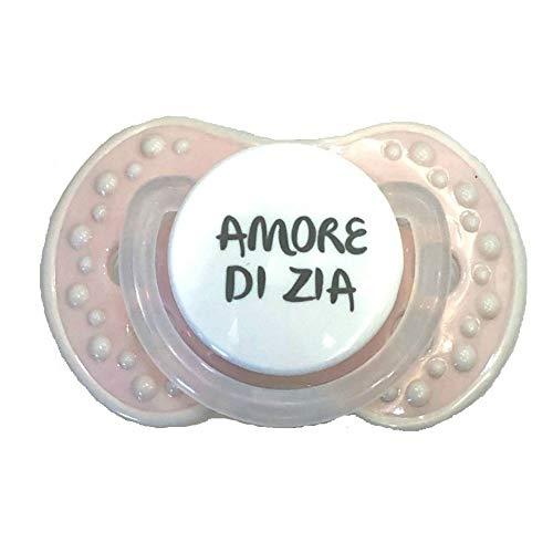 Chupete rosa claro chupete amor de zia personalizado talla 0-6 meses silicona hembra recién nacido niña niña niño