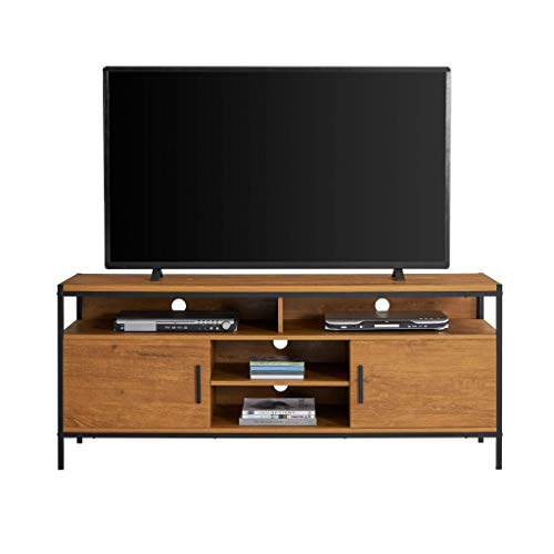 Caffoz Furniture Designs Wide Entertainment Center TV Media Stand with Two Doors and Storage Shelves | Sturdy | Easy Assembly | Brown Oak Wood Look Accent Furniture with Metal Frame