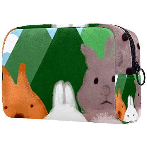 Trousse de toilette portable pour femme avec trois petits lapins mignons