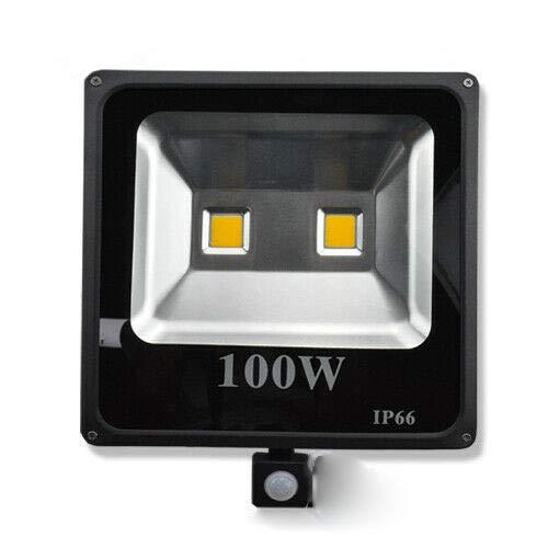 100 W, LED, sensor de movimiento, lámpara de paisaje, resistente al agua, IP66, blanco cálido