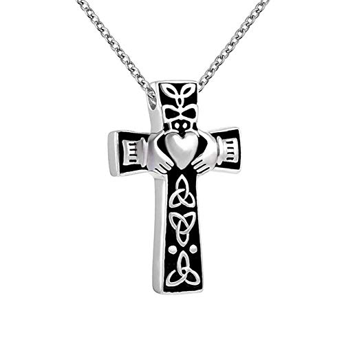 Casa De Novia Urn Necklace for Ashes Celtic Cross Claddagh Cremation Memorial Keepsake Pendent Jewelryfor Men Women