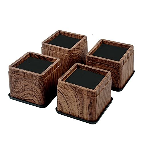 BTSD-home 3 Inch Wood Bed Risers Furniture Risers Bed Frame Lifters in Heights of 3 or 6 Inch Heavy Duty Set of 4 Square