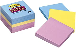 Post-it Super Sticky Notes, 3x3 in, 5 Pads, 2x Sticking Power, Assorted Colors (654-5SSAN)
