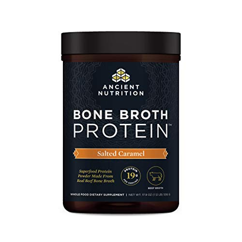 Ancient Nutrition Bone Broth Protein - Salted Caramel, Beef Bone Broth Collagen Peptides Made from Pasture Raised Beef, Supports Joints, Skin and Gut Health, Made Without Gluten & Dairy, 17.9 oz