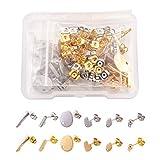 Cheriswelry 96 piezas de pendientes de acero inoxidable 304, componentes de pendientes de tuerca, pendientes con bucle para fabricación de joyas
