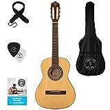 Guitarra acústica de mano izquierda, paquete de 3/4 tamaños (36 pulgadas), cuerda de nailon...