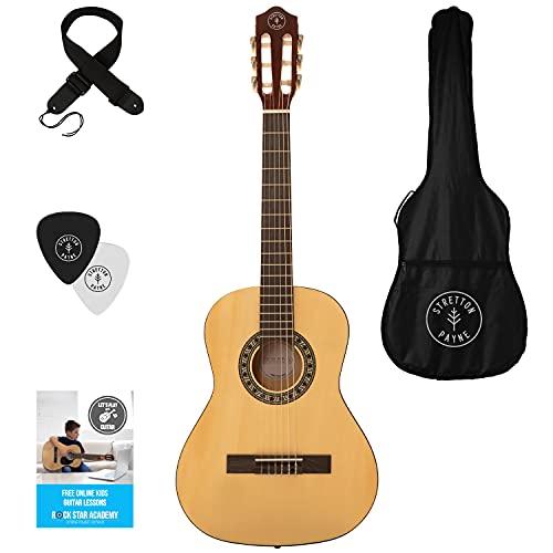 Linkshänder - Stretton Payne Kindergitarre, Konzertgitarre, Klassisches Gitarrenpaket 3/4 Größe (36 Zoll) Klassische Nylonsaiten-Kindergitarre im Paket - Natur