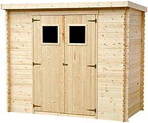 TIMBELA M310 Abri de Jardin en Bois Exterieur - Chalet en Pin/épicéa- Toit Plat - 235x130 cm/ 2.63m2