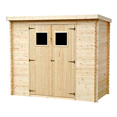 TIMBELA M310 Caseta de jardín de madera para exterior - caseta de pino / abeto - Tejado plano - H200 x 239 x 144 cm / 2,63 m2