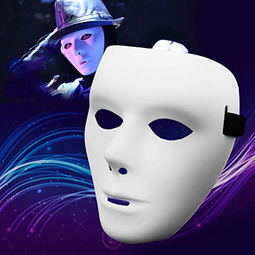 Dapei PVC Ritter Maske Geistertanz Hip Hop Maske Weiß Maske für Halloween Rave Party
