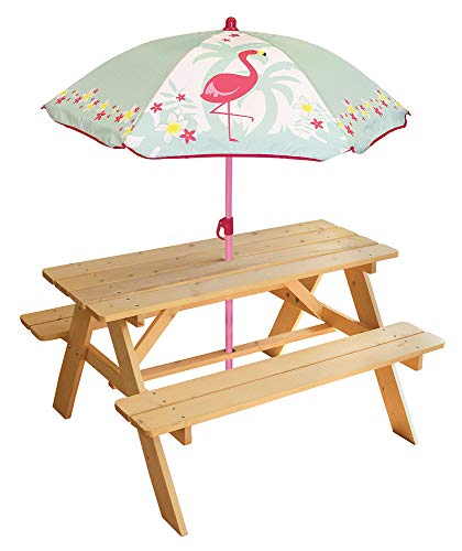 FUN HOUSE 713205 FLAMANT ROSE Table Pique Nique en bois avec parasol pour Enfant Rose
