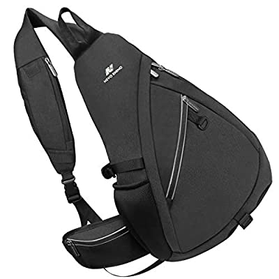 NEVO RHINO Sling Bag Waterproof Large Shoulder Chest Bagpack 25L Riding/Running/Travel Hiking Daypack Crossbody for Men Women(Black)