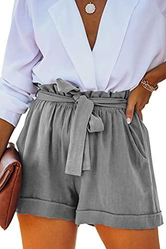 YOCUR High Waisted Shorts for Women 2021 Summer Teen Girl Shorts Folded Hem Baggy Paper Bag Petite Tie String Loose Comfort Short Pants Grey XXL