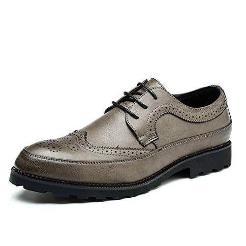 JDDRCASE mannen jurk schoen casual Oxfords lace up microvezel leer puntschoen Brogue snijden Burnished Art Solid Color genaaid