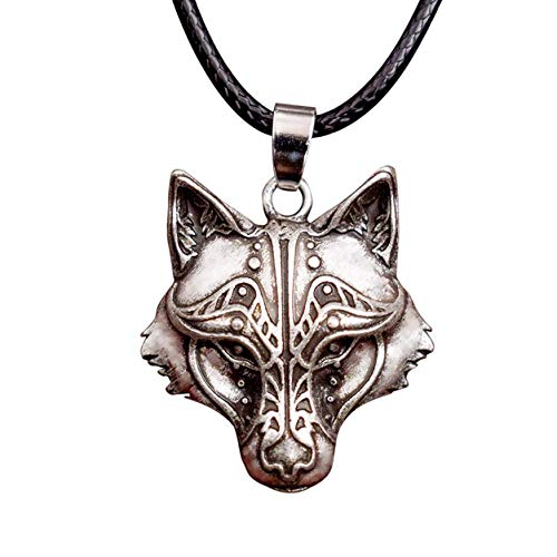 HAQUIL Viking Jewelry Odin's Wolf Head Pendant Leather Cord Necklace for Men and Women, 19.7'