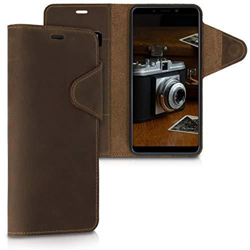 kalibri Wallet Hülle kompatibel mit Samsung Galaxy A9 (2018) - Hülle Leder - Handy Cover Handyhülle in Braun