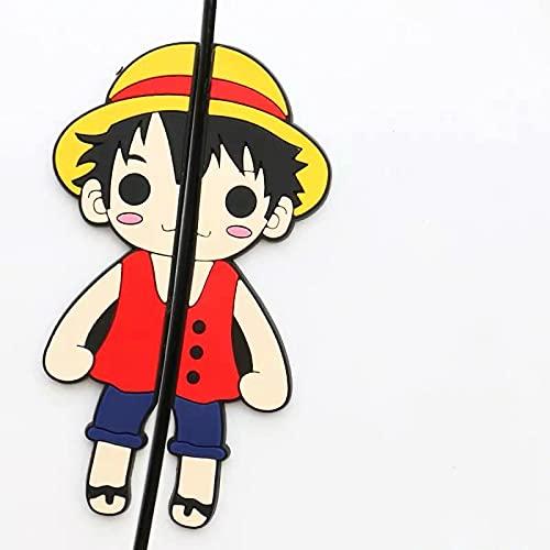 BUCUO Etiqueta engomada anticolisión de la Puerta del Coche Creative One Piece Luffy Cute Cartoon Door Side Protection Anti-Collision Strip Anti-Scratch Anti-Collision Decorativo Sticker 2Pcs