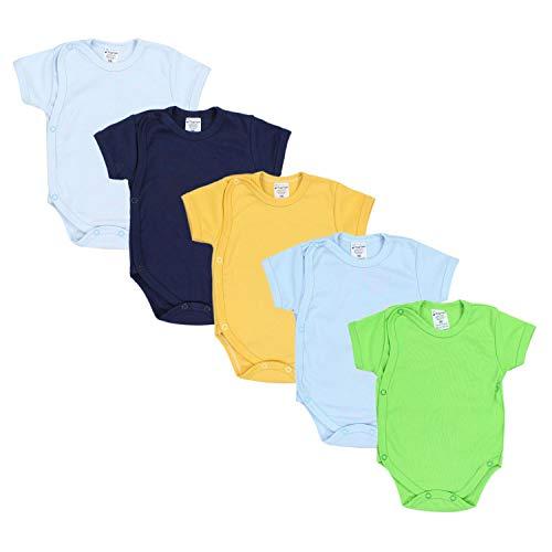 TupTam TupTam Baby Jungen Kurzarm Wickelbody Baumwolle 5er Set, Farbe: Farbenmix 1, Größe: 74