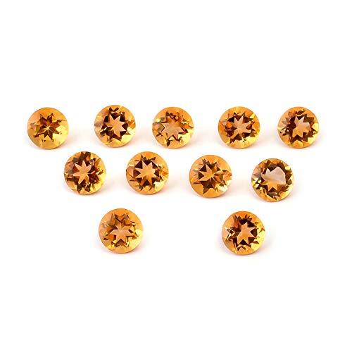 Lote de 10 Piezas Natural Citrino 4mm de forma Redondo Facetas Cortar la Piedra preciosa floja para la fabricación de joyas   Calidad AAA tamaño calibrado 1mm a 10mm Redondo Piedra semipreciosa