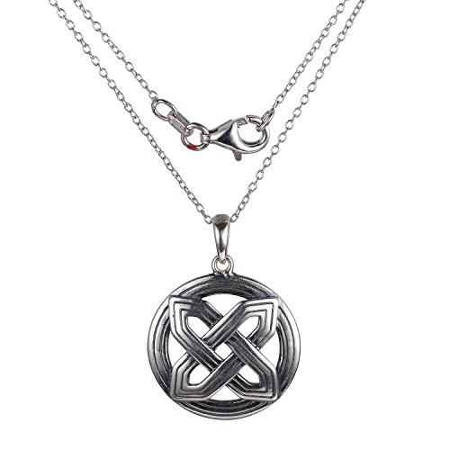 Oxidized 925 Sterling Silver Medallion Celtic Knot Pendant Necklace, 18'