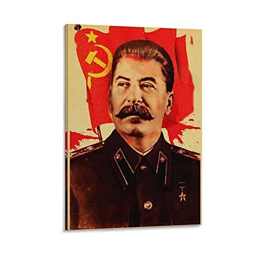 Kunstdruck auf Leinwand, Stalin mit kommunistischer Flagge, modernes Design, 50 x 75 cm