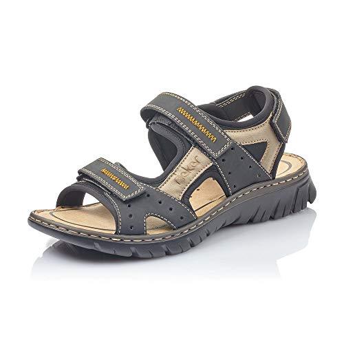 Rieker Herren Sandalen 26757, Männer Trekking Sandalen, leger Outdoor-Sandale Sport-Sandale sommerschuh,schwarz/Elefant/schwarz / 01,45 EU / 10,5 UK