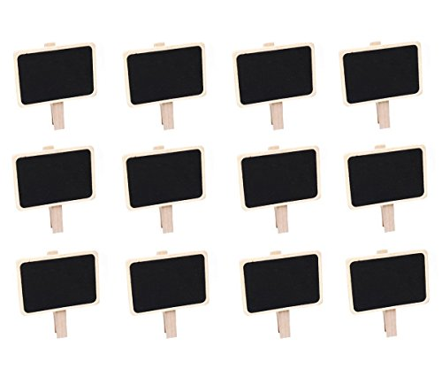Akak Store 12 pc Mini Retangle Chalkboard with Wooden Blackboard Clip for Message Board Signs Wedding Birthday Party Decorations