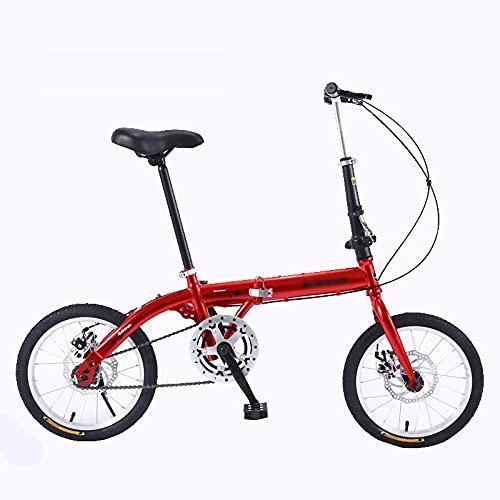 KAUO Bicicletas Plegables De 20 Pulgadas Bicicleta Ligera para Hombres Y Mujeres MTB Doble V De Freno para Adultos para Hombres Mujeres Estudiantes Y Viajeros Urbanos Resistente Y Ligero,Rojo