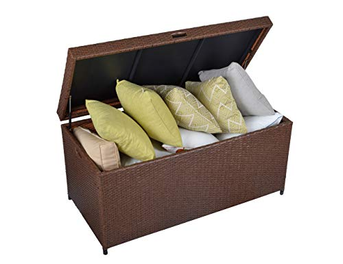 Green4ever Outdoor Patio Deck Box, 138 Gal Large Rattan Storage Bin, Wicker Storage Container with Waterpoof Liner for Cushions, Throw Pillows, Pool Accessories, Aluminum Frame, Brown