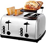 JAYLONG Tostadora 4 Rebanada, Multifunción Fabricante eléctrico Fabricante Máquina de Pan Mini Mini Sandwich Maker, para Acampar Viajes de Vacaciones, Acero Inoxidable
