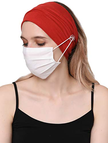Deresina Plain Headband with Button for Facecover Masks (Cinnemon (Mask Not Included))
