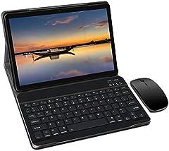 Tablet 10 Pulgadas, Android 9.0 YESTEL Tablets, 4 GB de RAM, 64 GB Ampliables hasta 128 GB, Procesador Quad-Core, Pantalla HD IPS, Dual SIM LTE/WiFi, 8000mAh Batería con Mouse y Teclado, Color Negro