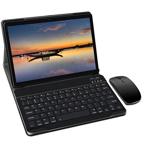 Tablet 10 Pulgadas, Android 10.0 YESTEL Tablets, 4 GB de RAM, 64 GB Ampliables hasta 128 GB, Procesador Quad-Core, Pantalla HD IPS, Dual SIM LTE/WiFi, 8000mAh Batería con Mouse y Teclado, Color Negro