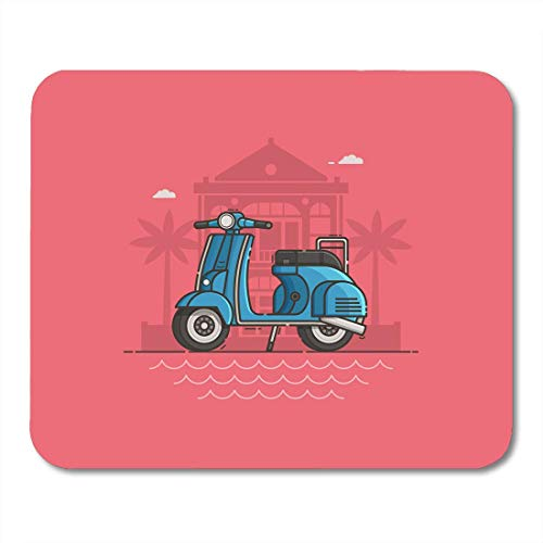 Mouse Pads Blue Scooter Parked Near Villa and Sea Beach Motor Bike on Road Motorcycle Standing Tropical Seaside Mouse Pad for Notebooks,Desktop Computers Office Supplies