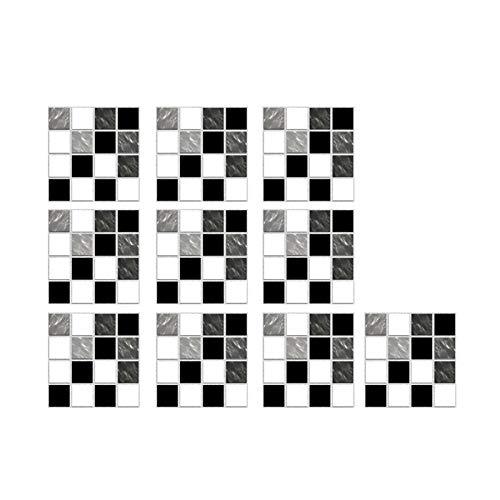 10 Stück Fliesenaufkleber Wandtattoo Mosaik DIY Wandsticker Selbstklebende Klebefolie 3D Fliesen Aufkleber DIY Wanddeko Dekoration Wohnzimmer Bad küche Badezimmer Kinderzimmer